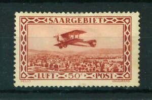 Germany Saargebiet 1928 Airmail 50c red stamp Mint. Sg 126