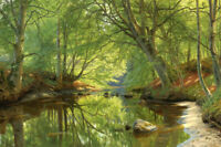 Creek in the summer forest oil painting Giclee Art Printed on canvas L2679