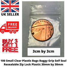100x Small Clear Plastic Bag Grip Self Seal Resealable Lock NEW BAG 30mm by 30mm