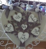 bespoke shabby chic personalised our Family Tree Heart plaque sign keepsake gift