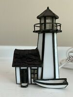 """Stained Glass Michigan Lighthouse """"Vitreville"""" Collection Night Light 1993"""