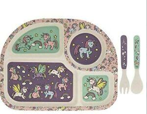 Eco-Friendly Bamboo Unicorns Dinner Set Kids Tray Fork Plate Spoon Children