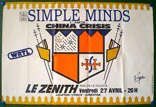 SIMPLE MINDS – AFFICHE ORIGINALE DE CONCERT- ZENITH DE PARIS - FRANCE –TOUR 1984