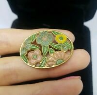 Antique Victorian Flower Oval Gold Tone  Brooch Costume Jewellery Pretty Paste