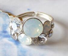 aKONPLOTT Ring * Petit Glamour * funkelnd  in * Opalweiß und Diamantfarben *