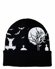 TOO FAST Eerie Cemetery Black Beanie Hat BATS MOON GOTH WITCH URBAN Rock Spooky