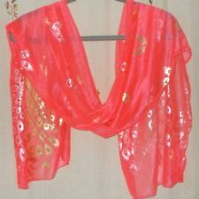 Oblong, Gold Metallic, Peacock Design Scarf in Vivid Coral