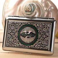 Mother of Pearl Bird Metal Cigarette Tobacco Holder Credit Card Case Box Wallet