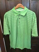 Mens Small PGA Tour Green Striped Polyester S/S Athletic Polo Golf Shirt Medium