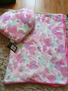 Heart Pink Fleece Blanket and Cushion