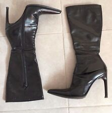 """""""Chuckies Brand"""" Women's Black Pointy Stiletto Leather Boots Size 8"""
