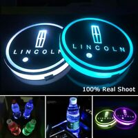 2PCS LED Car Logo Cup Holder Pad 7 Colors Changing Atmosphere Lights for LINCOLN
