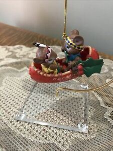 ENESCO HOW...DO I LOVE THEE ORNAMENT  MOUSE COUPLE IN RED CANOE BOAT!