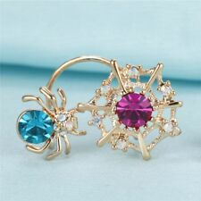 Halloween Gifts Gothic Stud Jewelry Golden Earrings Ear Clip Spider Web
