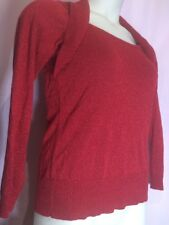 """AB Studios M 34""""Bust Red Sparkle Women Blouse Top Shirt Christmas Holiday O28"""