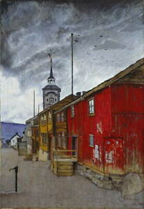Harald Sohlberg Street in Roros Giclee Art Paper Print Poster Reproduction