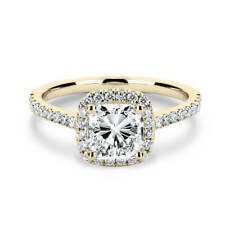 Cut Moissanite with Accents Halo Ring Lovely 14K Yellow Gold 1 Carat Cushion