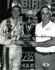 DARRELL WALTRIP & JUNIOR JOHNSON DUAL SIGNED AUTOGRAPHED 8x10 PHOTO BECKETT BAS