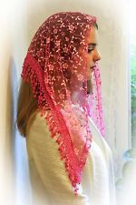 NEW Classic Mantilla Bright Pink Embroidered Chapel Veil Triangle Free Ship