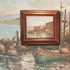Francese Vista porto con Barche da pesca. Orig. vecchio Dipinti a olio