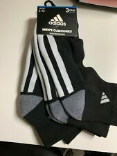 Adidas Men's Moisture Wicking 3-Pair Socks Black Color Shoe Size 6-12 b&w/gray