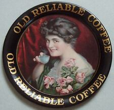 GORGEOUS OLD RELIABLE COFFEE TIN ADVERTISING TIP TRAY ABSOLUTLEY MINT, IT SHINES
