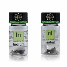 Indium metal element 49 sample 5 grams shiny pieces 99,99% in labeled glass vial