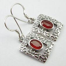 "OVAL Red CARNELIAN Gemstone Pair, 925 Sterling Silver OLD STYLE Earrings 1.3"""
