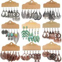 3 Pairs Retro Boho Gypsy Earrings Set Tribal Ethnic Festival Drop Dangle Women