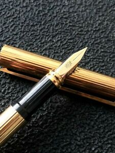 Authentic ST Dupont 1986 gold plated classic fountain pen 41070 with box and car