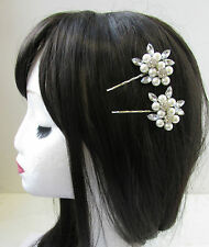 2 x Silver & White Pearl Rhinestone Flower Hair Clips Bridal Vintage Pins V28