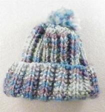 Hand Knit Baby Boy Hat Blue Turquoise Purple New
