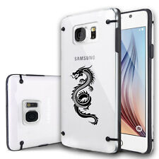 For Samsung Galaxy S7 S5 S6 Edge Note Clear Hard TPU Case Cover Tribal Dragon