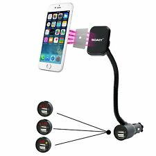 SOAIY 3-In-1 Car Holder Cradle w/ Dual USB 3.1A Charger For iPhone  Samsung