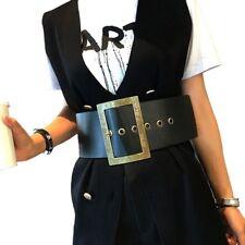 Women Belt Leather Black Wide Single Tongue Baroque Waist Buckle Cummerbunds