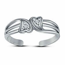 14K White Gold Over Double Heart Adjustable Bypass Toe Ring Valentine Gift