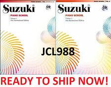 NEW Suzuki Piano School 2 BOOKS AND CD SET VOLUMES 1, 2 New International ed