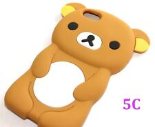 iPhone 5C - SOFT SILICONE RUBBER SKIN CASE COVER BROWN WHITE BABY TEDDY BEAR