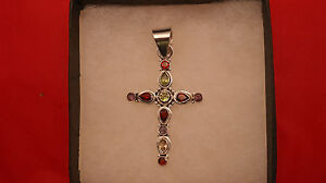 Superb 925 Silver Cross With 11 Faceted Multy Gemstones 7.8 Gr. 6.5x3.5 Cm. W.
