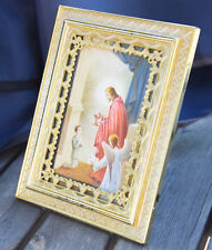 Jesus Christus Engel Kind Vintage Bild Heiligebild Bilderrahmen Metall Gold