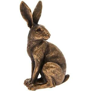 Reflections Bronzed Sitting Hare Resin Wildlife Home Decor Ornament Figurine