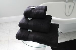 Cazsplash Organic Cotton 650gsm High Quality Black Towel Set