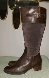 Rockport shearling lamb fur lined riding boots ladies brown 10 m tall suede