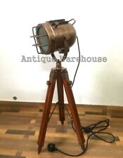 Vintage Industrial Copper Floor Lamp Nautical Tripod Marine Studio Searchlight