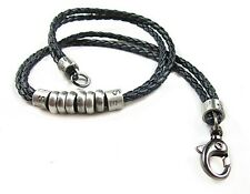 NEW Leather Men's Metal Surfer Braided Necklace Choker Black Silver Leatherette