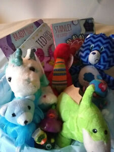 Baby toddlers gift basket birthday Care Bears Unicorns Dinosaurs and more