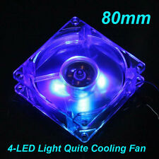 Quad 4led TRANSPARENTE VENTILADOR ORDENADOR PC modding enfriador 80mm 25mm 12v