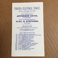 Reprint 1861 Virginia Confederate Electoral Ticket Jefferson Davis Stephens Card