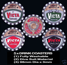 5 x VICTA MOWER HANDLE BADGE ALL DIFFERENT, 5 MODELS 1952 1960, DRINK COASTERS -