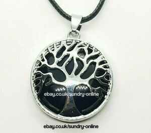 Tree of Life Onyx Healing Stone Necklace Pendant Chakra Yoga Reiki Obsidian